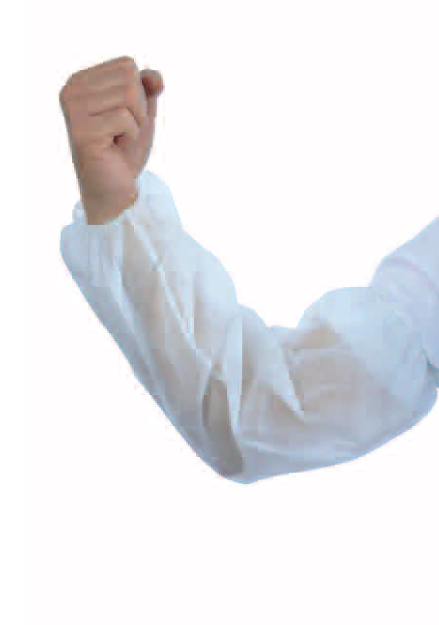 Disposable Polypropylene Sleeves with Elastic End White 18'' Long (Bag of 100)