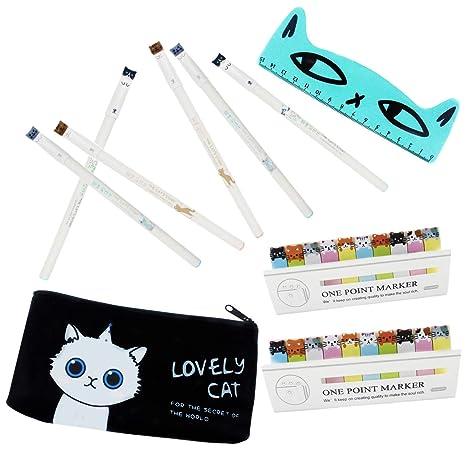 Bolígrafos de gato para chidren, 6 bolígrafos de gel de 0,5 mm con