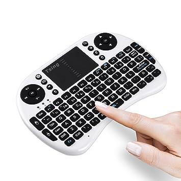 Tsing Mini Teclado Inalámbrico 2.4GHz (Disposición en Español) con ratón touchpad (Blanco