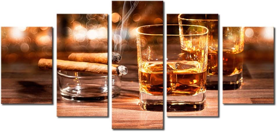AWLXPHY Decor- Cigars Soldering Cup Wall Art Max 57% OFF Painting Framed Set Canvas 5