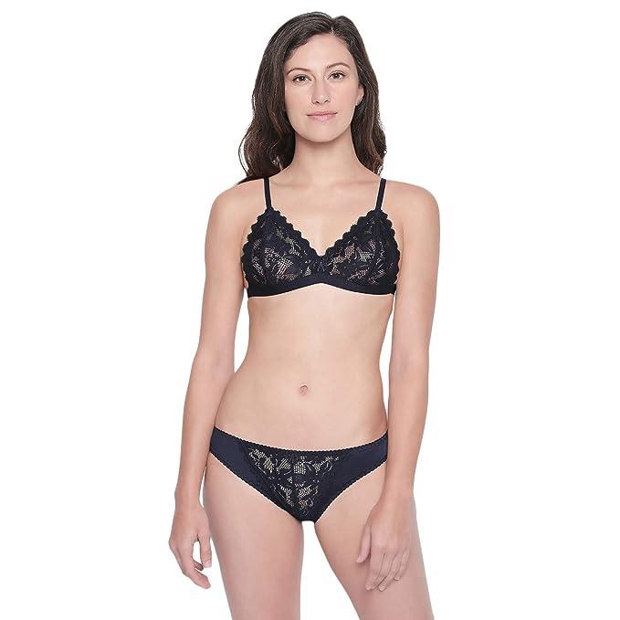 fd62676bc6 BODYCARE Bridal Dark Blue Bra   Panty Lingerie Set - 6401DBL  Amazon ...