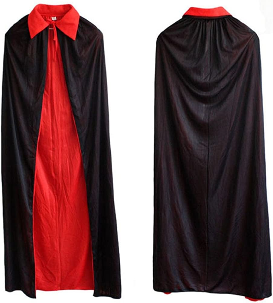 Hooded Cloak Role Play Costume Halloween Party Cape for Adult and Kids Black US