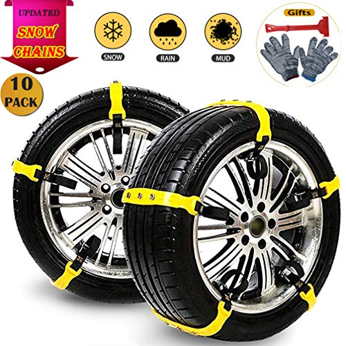 Snow Chains 10 Pcs Anti Slip Tire Chains Adjustable Security Emergency Car Tire Chains Fit for Most Car SUV Truck Vans, 185-295mm/7.2-11.6''