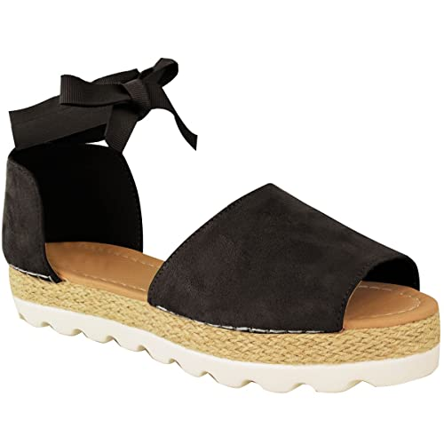809516f38 Womens Ladies Flat Lace Up Sandals Espadrilles Summer Chunky Holiday Shoes  Size