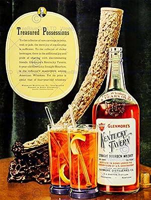 Advert Drink Alcohol Bourbon Whiskey Kentucky Horn Bottle Glass Usa Print Bb7385