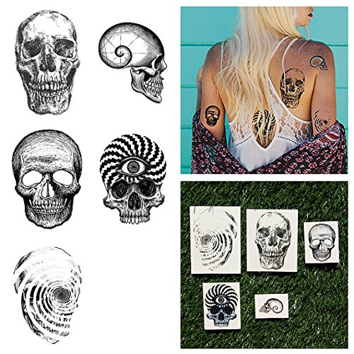 - Tattify Illustrated Skull Temporary Tattoos - Gray Matter (Set of 10 Tattoos - 2 of each Styles) - Individual Styles Available - Fashionable Temporary Tattoos - Long Lasting and Waterproof