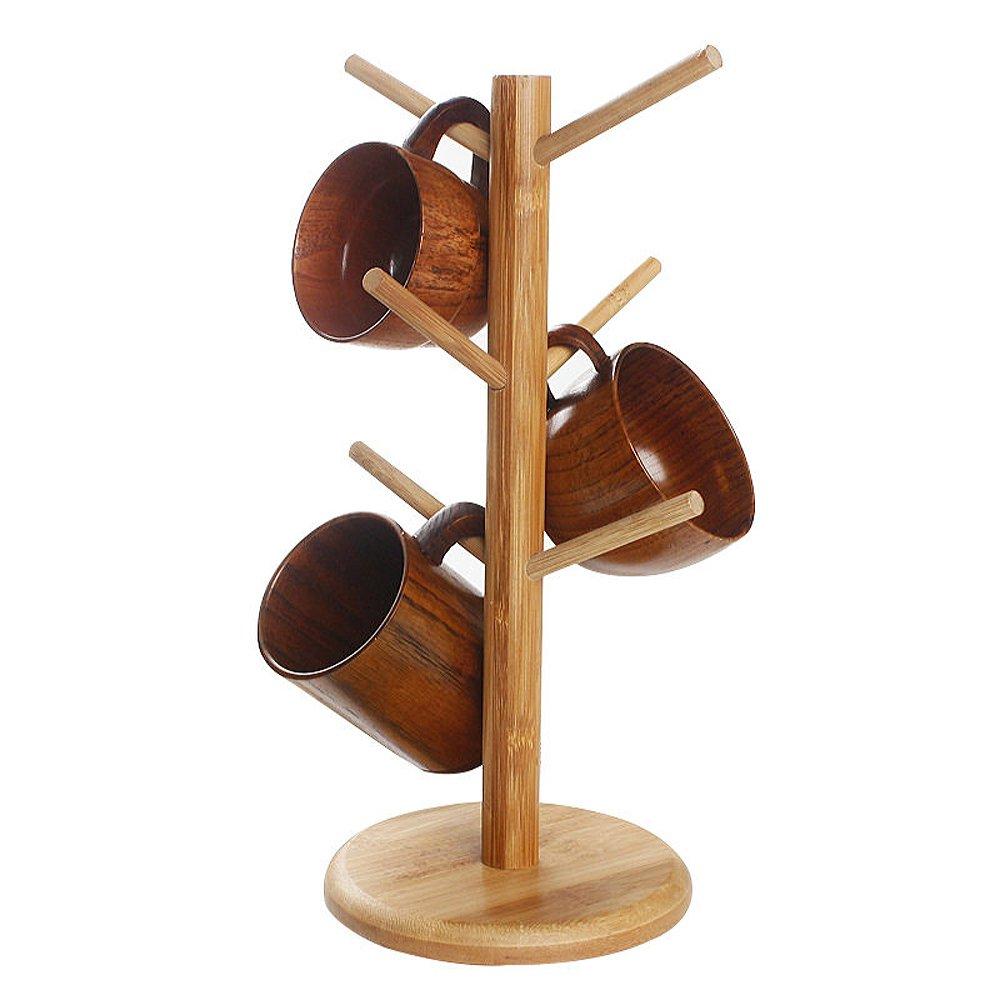 BIGSUN Stylish Style Natural Bamboo Mug Holder Tree Organizer Drying Rack Stand,Cups Holder,Mug Tree, Mug Stand, Storage Coffee Tea Cup Organizer Holder with 6 Hooks