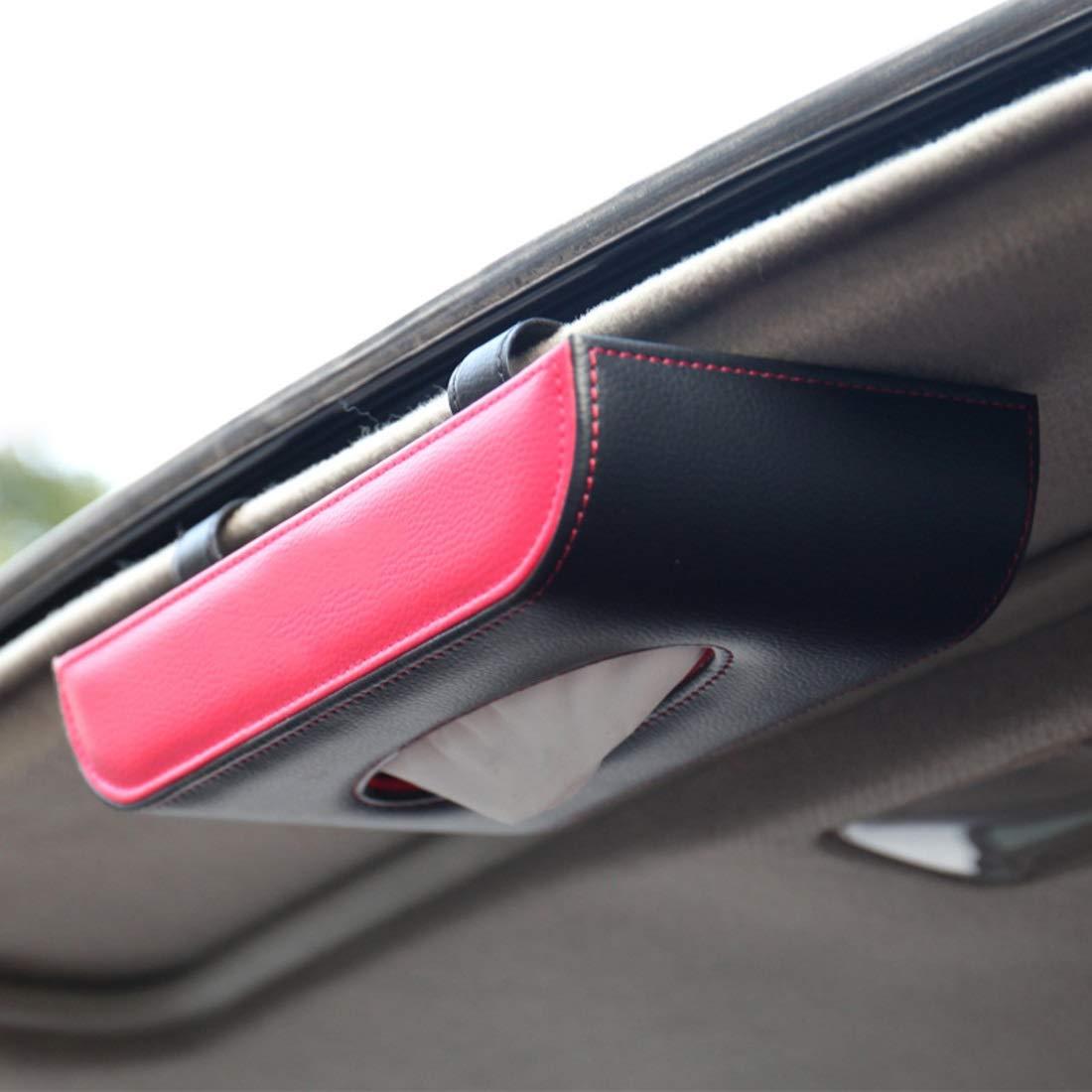 Mkulxina Autogewebekastenauto, das hängendes hängendes Oberlicht der Sonnenblende innerhalb des Autos mit Einem Seidenpapierkasten hängt (Farbe   Hanging-cool schwarz) B07PSCQLPD Toilettenpapieraufbewahrung