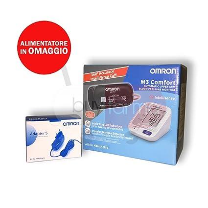 Omron M3 Comfort – Medidor de presión de brazo digital + Fuente de alimentación de corriente