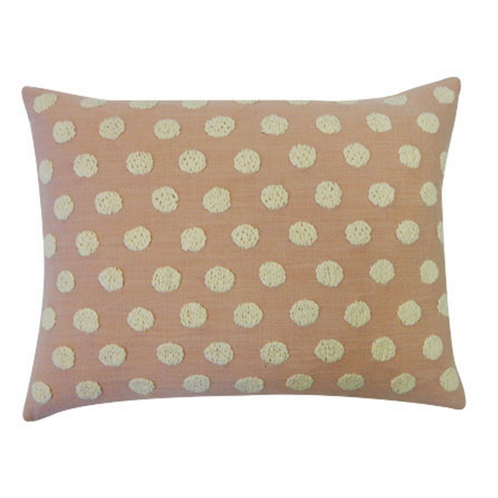 Vivai Home Peach Cotton Ball Rectangle 12x 20 Feather Throw Pillow