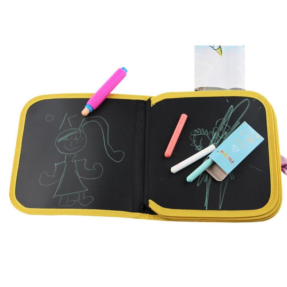 Aolvo - Alfombrilla de Dibujo Portátil para Viajes, Libro de Actividades con Dibujo con Dibujo y Libro de Actividades con 4 tizas de Colores sin Polvo, Juguete Creativo para Niños, Niños
