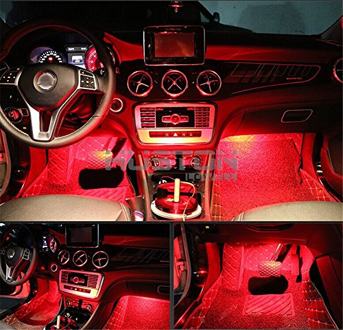 Onepalace 4pcs Car Led Interior Underdash Lighting Kit Led