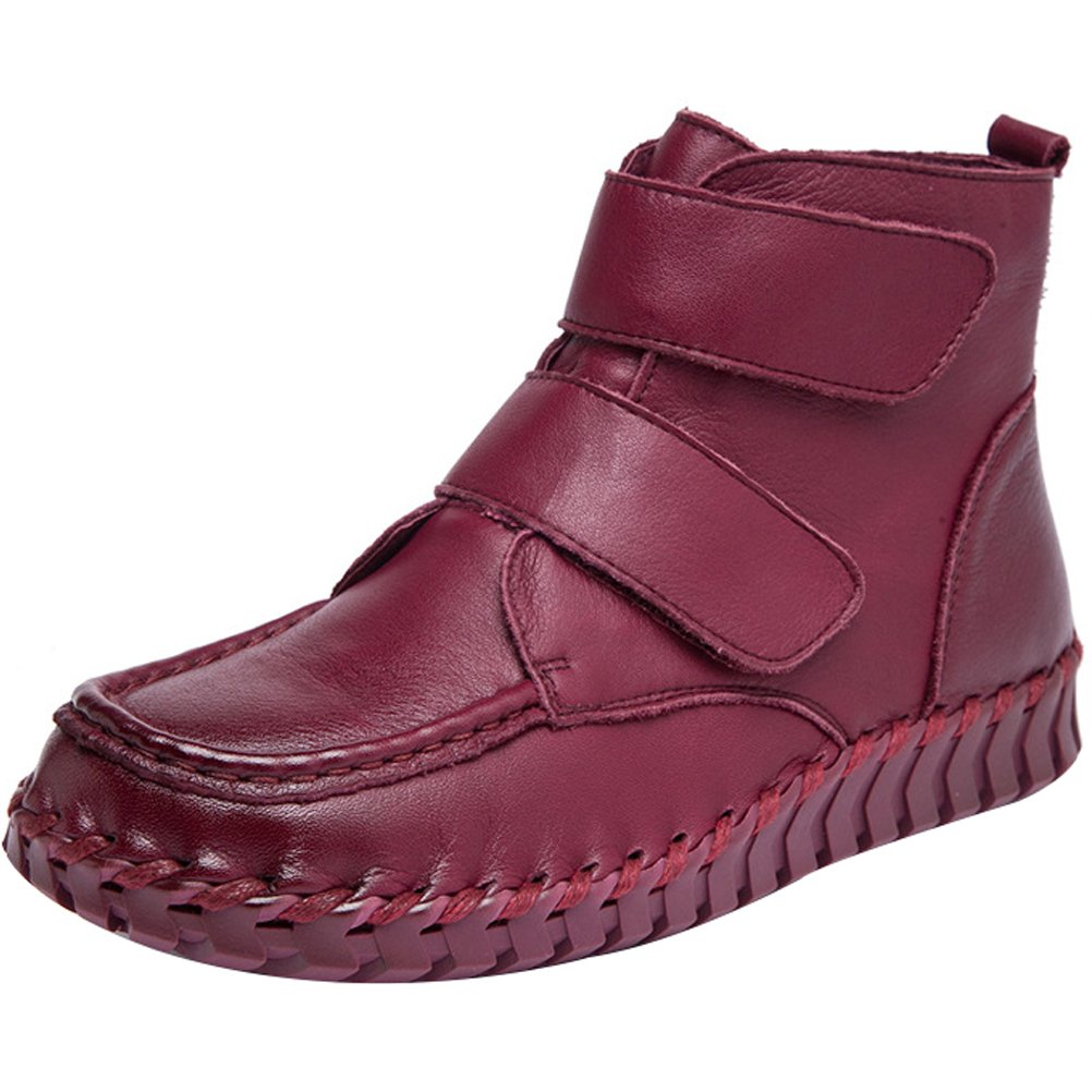 Mordenmiss Women's New Fall Winter Martin Flat Plain Toe Boots B01L3DSLZ8 US?6//CH?37|Style 1 Burgundy