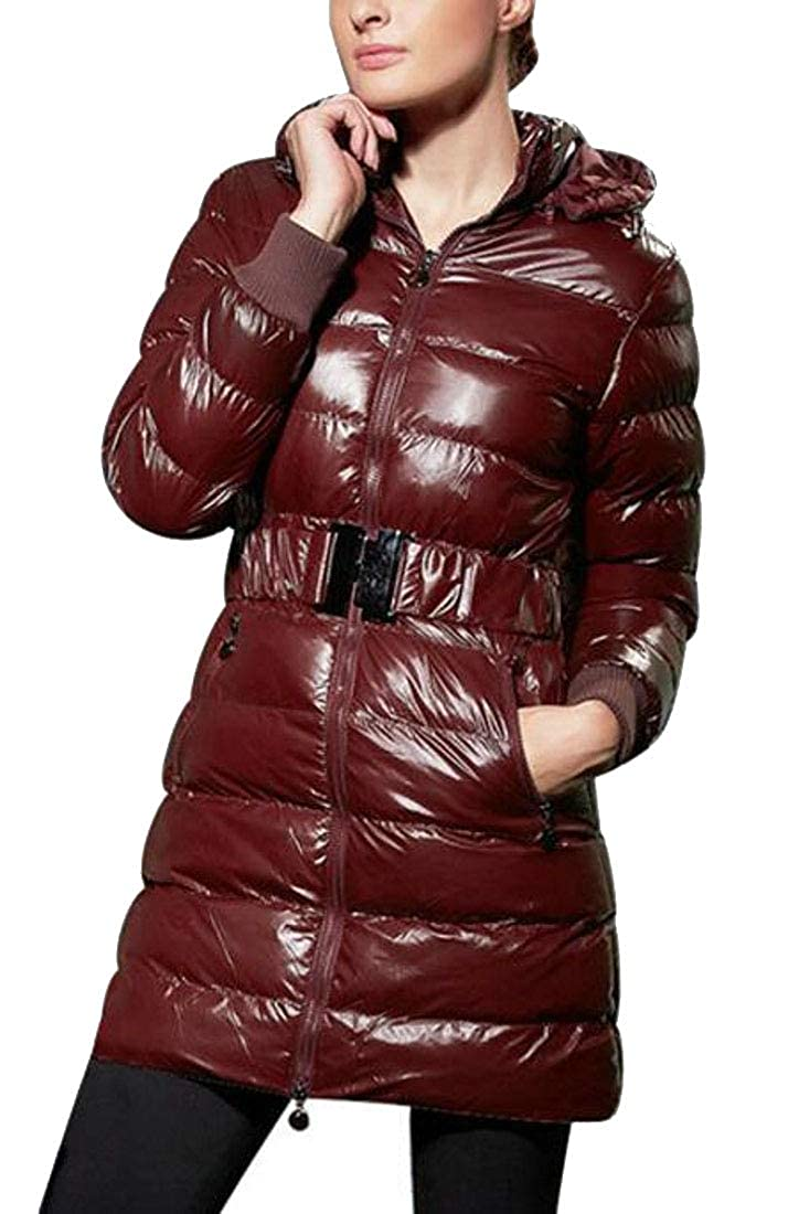 GAGA Womens Resistant Puffer Coat Quilted Padded Mid Long Down Jacket with Belt