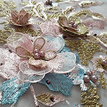 Powder + Green 1 Pair 3D Flower Embroidery Lace Trim Bridal Wedding Applique Beaded Pearl Tulle DIY Sewing Trims Wedding Decoration 1pc