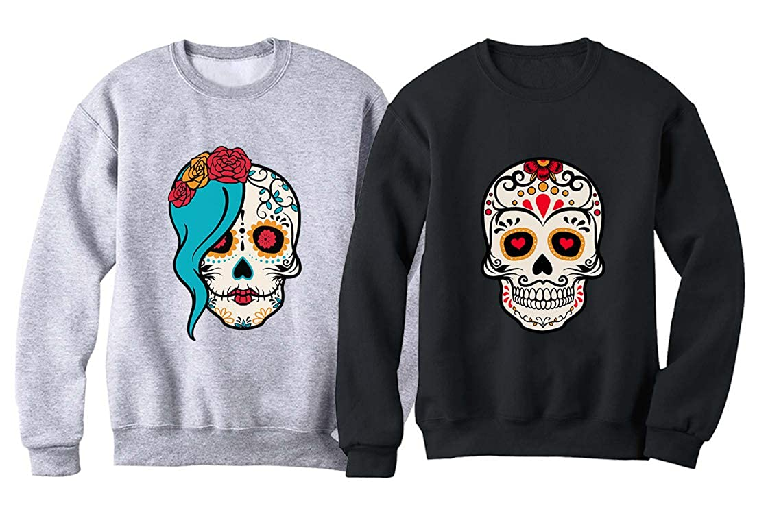 Sugar Skull Day of The Dead Valentines Day Matching Couple Sweatshirt Shirt