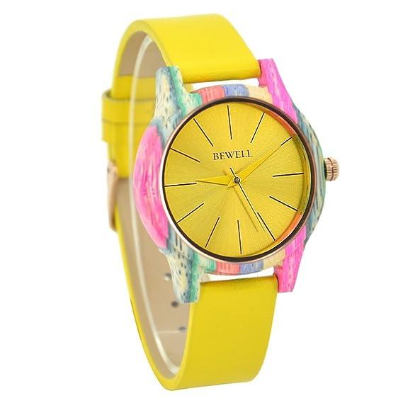 Reloj de las mujeres moda madera reloj analógico movimiento de cuarzo correa de piel relojes para mujer Unisex accesorios: Amazon.es: Relojes
