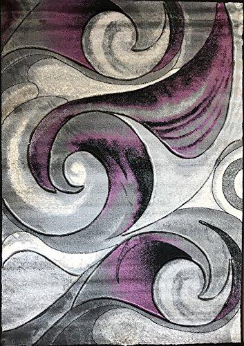 Modern Area Rug Contemporary Purple Black Gray Grey Carpet King Design 410 (5 Feet X 7 Feet) (Area And Rug Gray Purple)