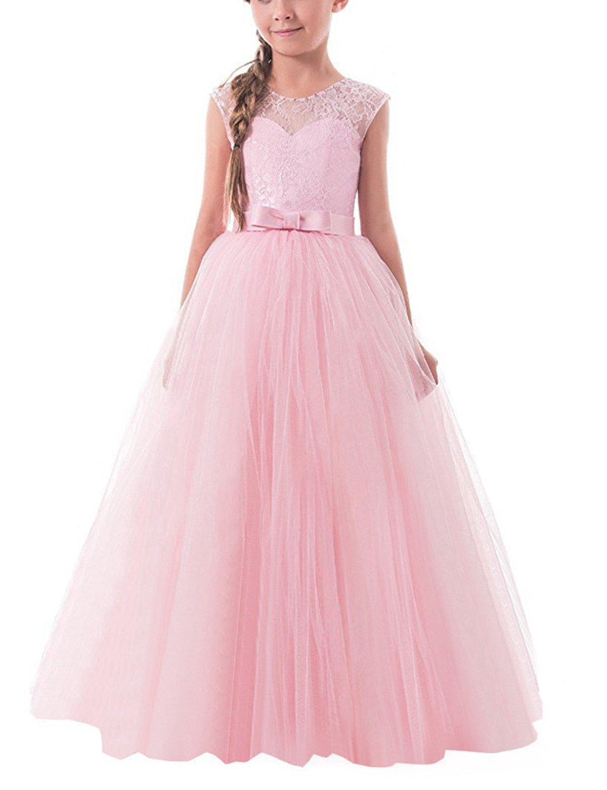 TTYAOVO Girls Pageant Ball Gowns Kids Chiffon Embroidered Wedding Party Dress Size 6-7 Years Pink