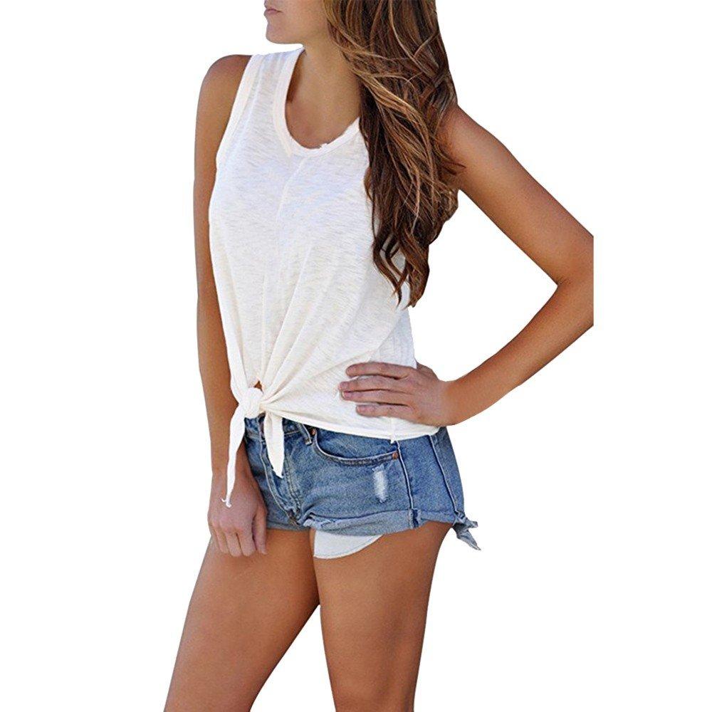 Hot Tank Tops,Women's Summer O Neck Sleeveless Shirt Blouse Front Tie Knot Cami T Shirt Tops White