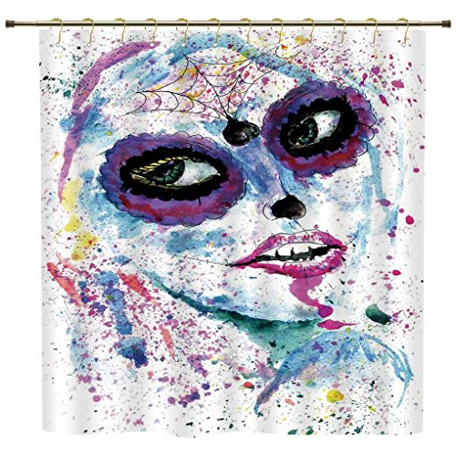 iPrint Shower Curtain,Girls,Grunge Halloween Lady with Sugar Skull Make Up Creepy Dead Face Gothic Woman Artsy,Blue Purple,Polyester Shower Curtains Bathroom Decor Sets with (Do Your Own Halloween Makeup)