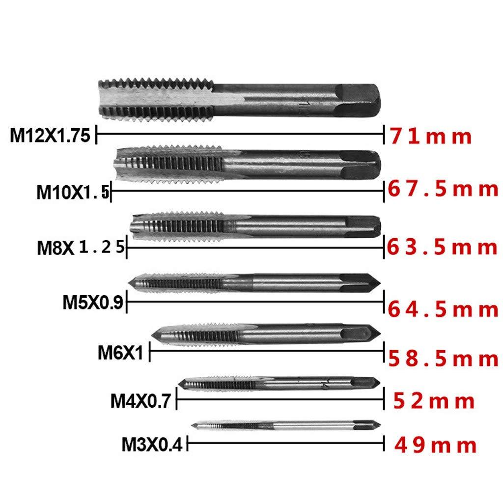 Baulody 7PCS Metric Taper HSS Mini Hand Screw Thread Tap Cutting Drill Bits Set M3-M12 (Silver) by Baulody (Image #3)