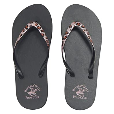 f679edf0d49c21 Beverly Hills Polo Club Leopard Women s Flip Flop Sandal Thong (6 US