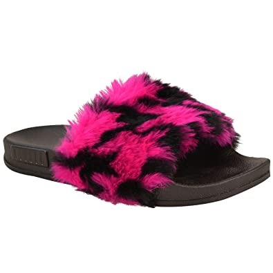 ca9a080bb Fashion Thirsty Womens Ladies Slip On Sliders Multi Colour Flats Faux Fur  Slippers Sandals Size  Amazon.co.uk  Shoes   Bags
