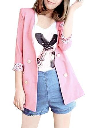 Mujer Oeste Elegante Otoño Americana Flores Estampadas Abrigos Modernas Casual De Solapa Manga Larga Doble Botonadura Moda Joven Outerwear (Color : Rosa, ...