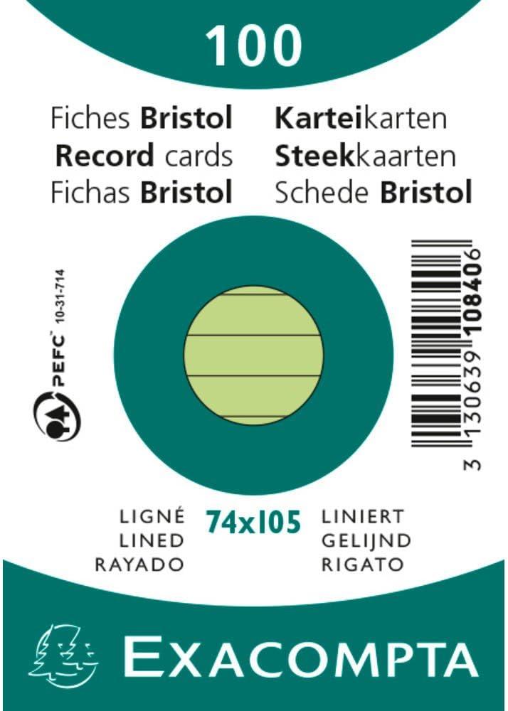 5 cm lign/é Non perfor/ées Vertes Exacompta 10840SE Paquet de 100 Fiches Bristol sous film 7 4 x 10