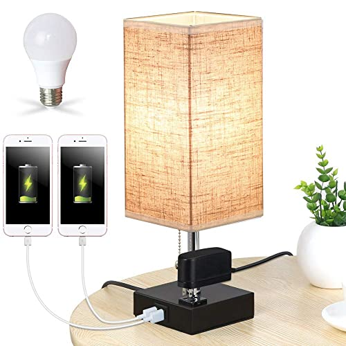 Lifeholder Table Lamp, Nightstand Lamp Built in Dual USB Charging Port One Power Outlet, Black Iron Base USB Lamp with Warm White LED Bulb, Modern USB Table Lamp Perfect for Bedroom, Office Square