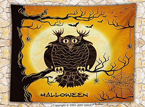 Halloween Decorations Fleece Throw Blanket Spooky Owl on Tree Branch Surrounded by Spider Webs and Bats Fear Themed Decor Throw (West Elm Halloween Decorations)