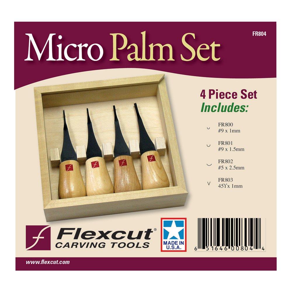 Flexcut Carving Tools, Micro Palm Craving Set, Set of 4 (FR804) by Flexcut (Image #2)