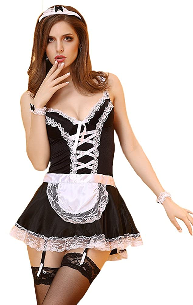f4d04f38bba Amazon.com  QinMi Lover Women s French Maid Cosplay Halloween Costume With  Cotton Cup Uniform Skirt Costumes Lace Dresses Short Apron