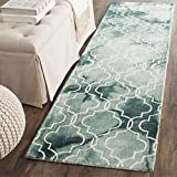 Cheap Safavieh Dip Dye Collection DDY676Q Handmade Geometric Watercolor Green and Ivory Wool Runner (2'3″ x 6′)