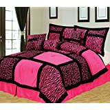 7Pcs Queen Giraffe/Zebra Pink and Black Micro Fur Comforter Set