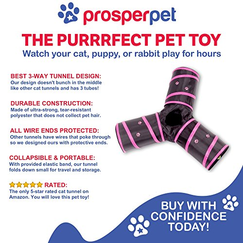 Prosper Pet Cat Tunnel - Collapsible 3 Way Play Toy Tube Fun for ...