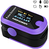 Pulsossimetro, Mondeer Saturimetro da Dito, Saturazione di Ossigeno, Display OLED con Custodia di Trasporto e Cordino, Batterie AAA Incluse (Viola)