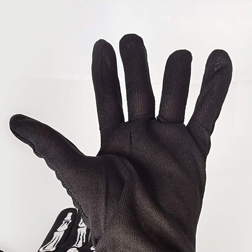 Amosfun Halloween Skeleton Gloves Skeleton Full Finger Gloves Unisex Stretchy Hand Warmer Gloves Racing Full Finger Gloves