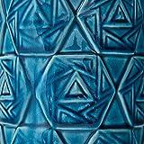 "Rivet Geometric Ceramic Table Lamp With LED Bulb, 15""H, Ocean Blue"