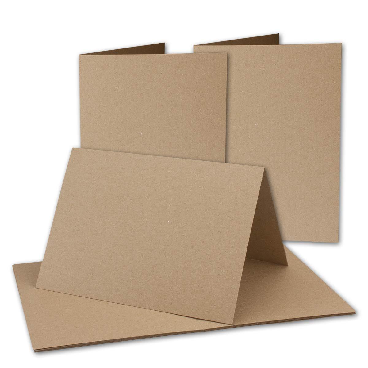 150x Vintage Kraftpapier Falt-Karten DIN B6-120 x 169 mm - sandbraun - Recycling - 350 g m² blanko Bastel-Karten I Umwelt by Gustav NEUSER® B07GFLQM8V | Erste Qualität
