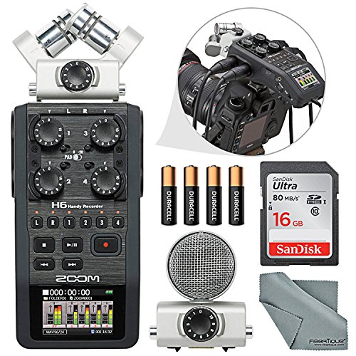 Zoom H6 Portable Recorder with Interchangeable Mic System Bundle with 16 GB + FiberTique Cloth +Batteries by Photo Savings