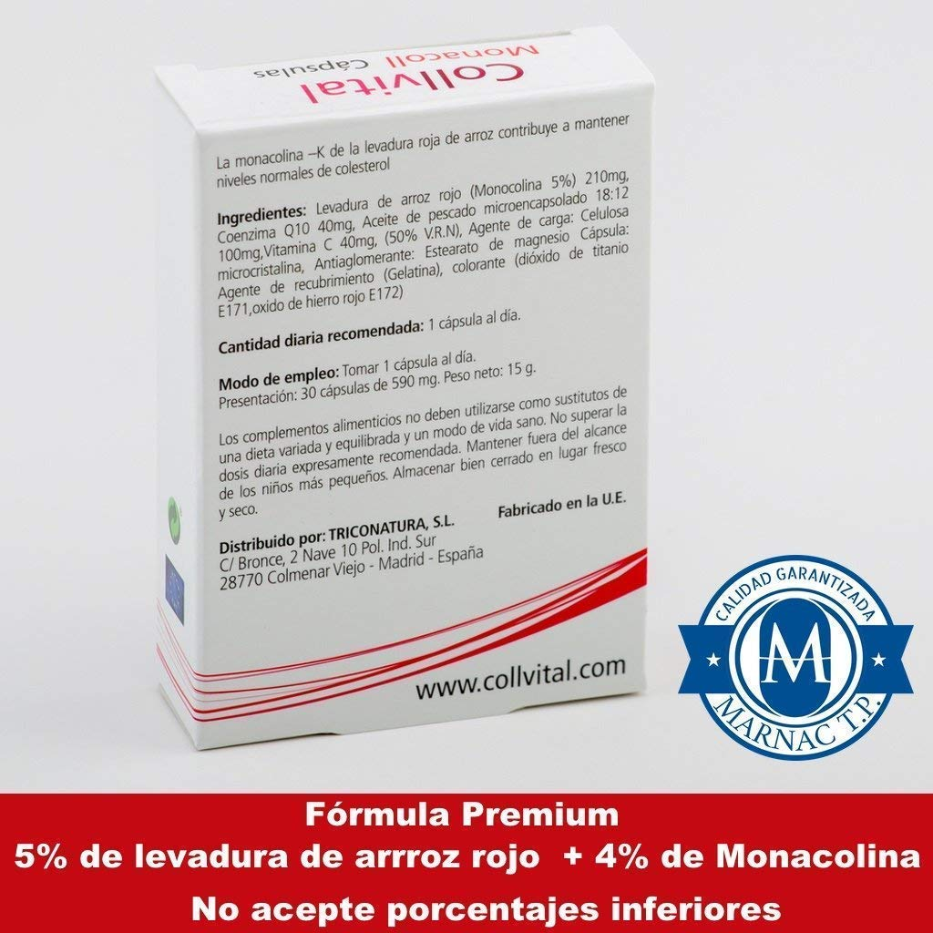 Levadura de Arroz Rojo + COENZIMA Q10 - Estabilizador de los niveles de colesterol - 100% Natural- 30 cápsulas tratamiento de una toma diaria - 5% de ...