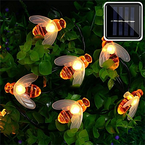 ER CHEN Solar Powered String Lights, 30 Cute Honeybee LED Lights, 15FT 8 Modes Starry Lights, Waterproof Fairy Decorative Lights for Outdoor, Wedding, Homes, Gardens, Patio, Party etc (Warm White) ()