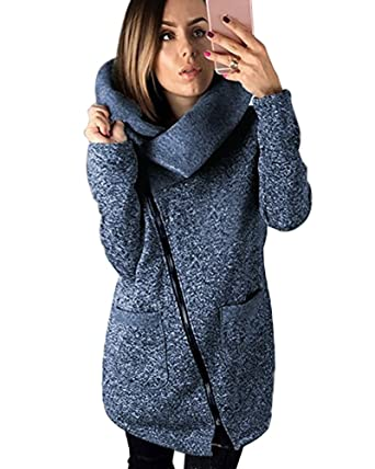 Tomwell Manteaux Hiver Femme Grande Taille Veste à Capuche Manteau Long Fermeture éclair Sweatshirt Pullover Casual Hoodie Outwear Sport
