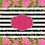 7X5FT Pink Flowers Black White Stripes Gold Coins Backdrop Pictorial Cloth Computer Print Party Background cst1075