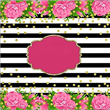 Amazoncom 7x5ft Pink Flowers Black White Stripes Gold Coins