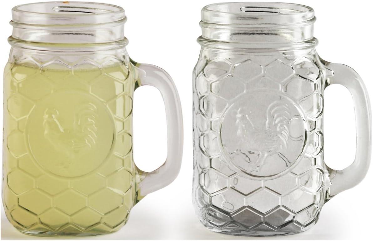 Circleware gallo Yorkshire Mason Jar tazas con asas de cristal, juego de 4, 17,5 g, edición limitada cristal Drinkware utensilios para vasos/vasos: Amazon.es: Hogar