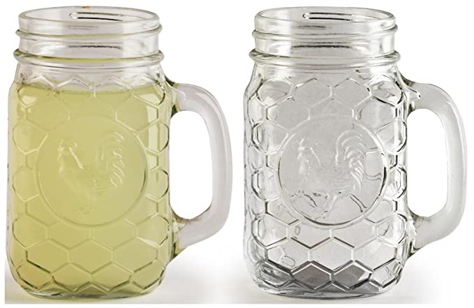 Circleware gallo Yorkshire Mason Jar tazas con asas de cristal, juego de 4, 17,5 g, edición limitada cristal Drinkware utensilios para vasos/vasos: ...