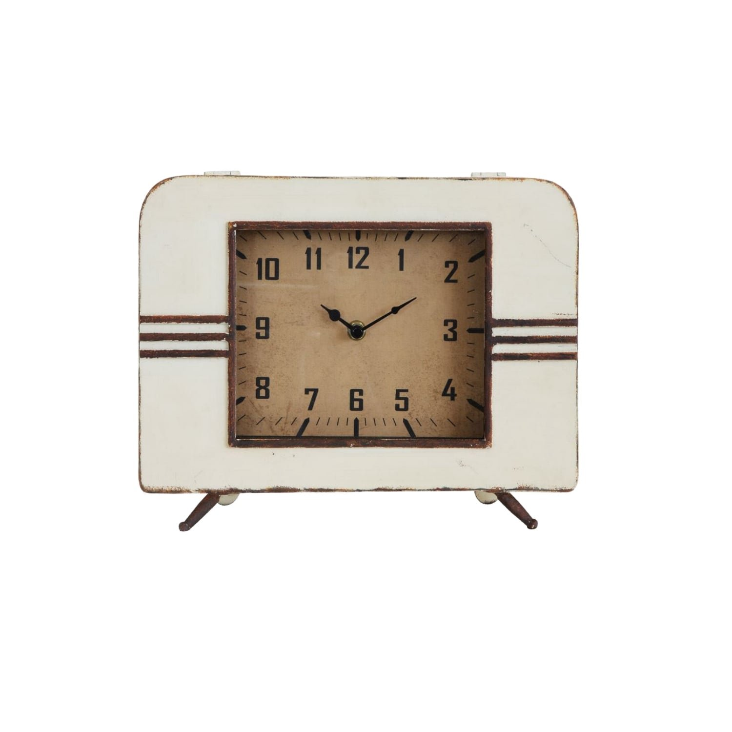 The King's Bay Mid Century Retro Style Metal Mantel Clock Hand Made Accurate Works